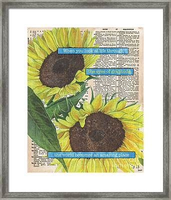 Sunflower Dictionary 2 Framed Print by Debbie DeWitt