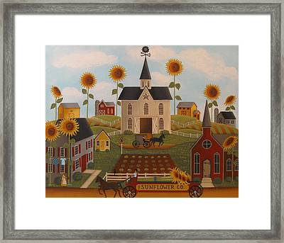 Sunflower Farms Framed Print by Mary Charles