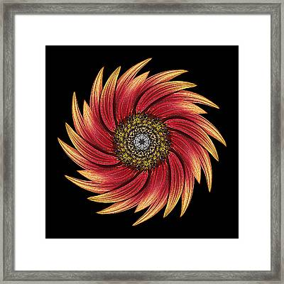Sunflower Moulin Rouge Ix Flower Mandala Framed Print by David J Bookbinder