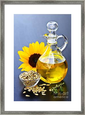 Sunflower Oil Bottle Framed Print by Elena Elisseeva