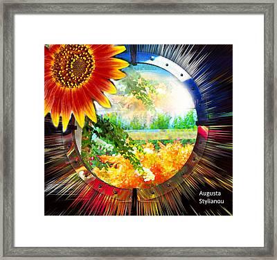 Sunflower On A Landscape Framed Print by Augusta Stylianou