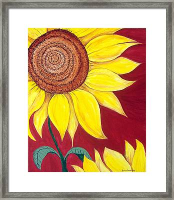 Sunflower On Red Framed Print