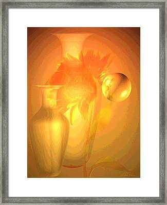 Sunflower Orange With Vases Posterized Framed Print by Joyce Dickens