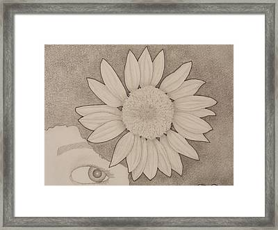 Sunflower Peeping Eye Framed Print by Aaron El-Amin