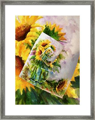 Sunflower Print On Print On Print Framed Print by Georgiana Romanovna