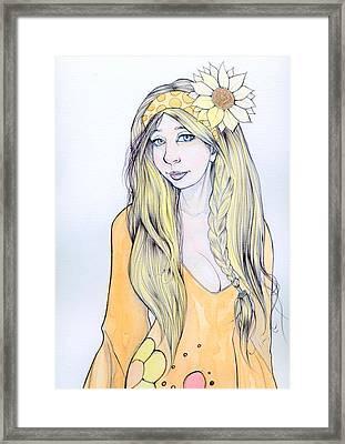 Sunflower Sara Framed Print