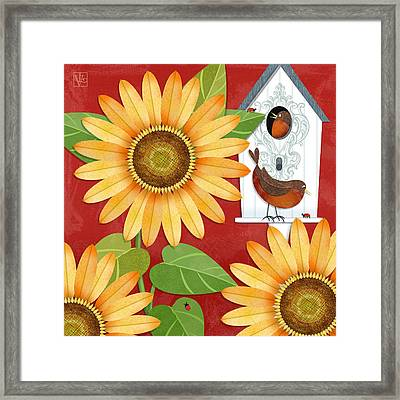 Sunflower Surprise Framed Print by Valerie Drake Lesiak