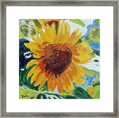 Sunflower Tile  Framed Print by Susan Duda