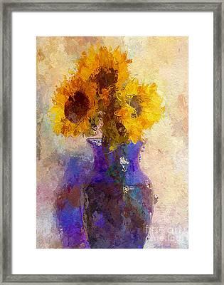 Sunflower Trio In Blue Vase Framed Print by Heidi Smith