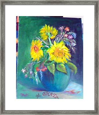 Sunflower Vase Framed Print by M Bhatt