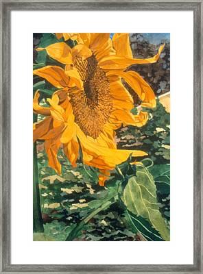 Sunflower Watercolor Painting Beautiful Flowers Sun Flower Garden Art Floral Artist K. Joann Russell Framed Print