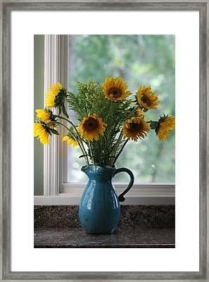 Sunflower Window Framed Print by Paula Rountree Bischoff