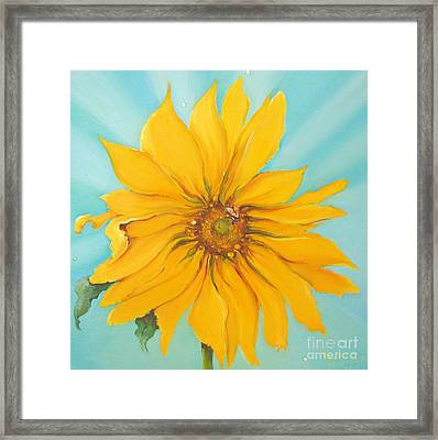 Sunflower With Bee Framed Print by Bettina Star-Rose