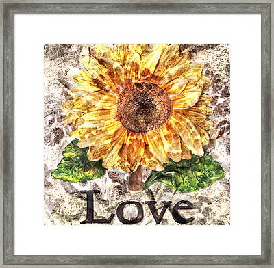 Sunflower With Hope And Love Framed Print