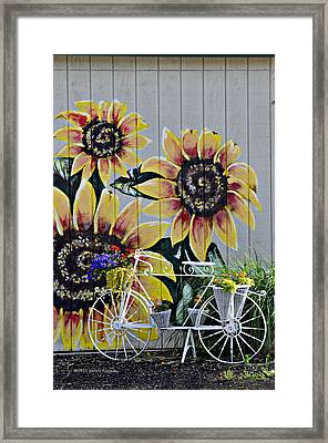 Sunflowers And Bicycle Framed Print by Kenny Francis