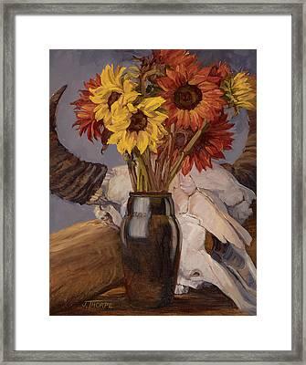 Sunflowers And Buffalo Skull Framed Print by Jane Thorpe