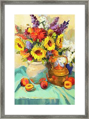 Sunflowers And Copper Framed Print by Diane McClary