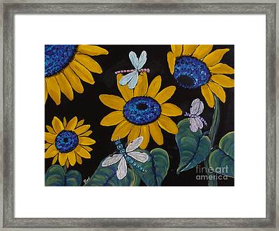 Sunflowers And Dragonflys-painting Framed Print
