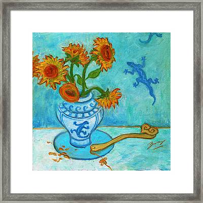 Framed Print featuring the painting Sunflowers And Lizards by Xueling Zou