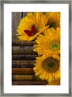 Sunflowers And Old Books Framed Print by Garry Gay