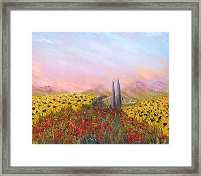 Sunflowers And Poppies Framed Print