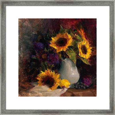 Sunflowers And Porcelain Still Life Framed Print by Karen Whitworth