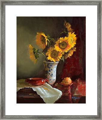 Sunflowers And Red Saucer Framed Print