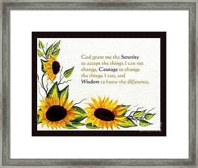 Sunflowers And Serenity Prayer Framed Print by Barbara Griffin
