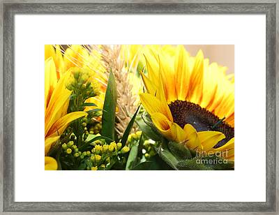 Framed Print featuring the photograph Sunflowers And Wheat by Julie Alison