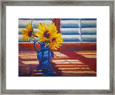 Sunflowers Backlight Framed Print