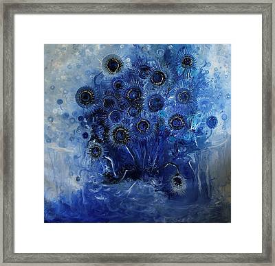 Sunflowers Blue Framed Print by Hermes Delicio