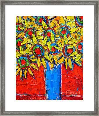 Sunflowers Bouquet In Blue Vase Framed Print by Ana Maria Edulescu