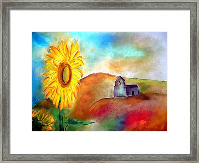 Sunflowers By The Hermitage Framed Print
