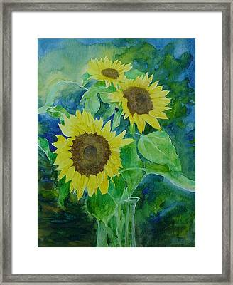 Sunflowers Colorful Sunflower Art Of Original Watercolor Framed Print