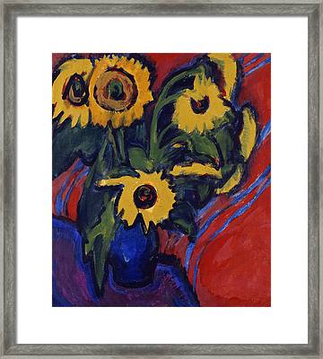 Sunflowers Framed Print by Ernst Ludwig Kirchner