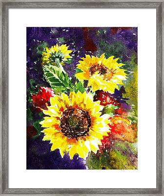 Framed Print featuring the painting Sunflowers Impressionism by Irina Sztukowski