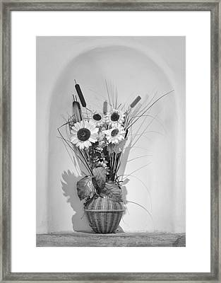 Sunflowers In A Basket Framed Print by Christine Till