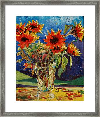Sunflowers In A Crystal Vase Framed Print