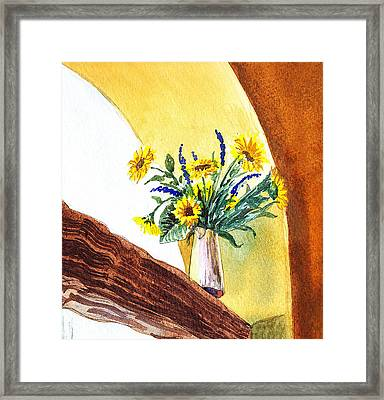 Sunflowers In A Pitcher Framed Print