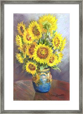 Sunflowers In A Sunflower Vase Framed Print