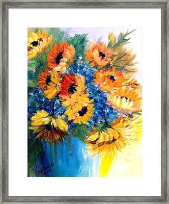 Framed Print featuring the painting Sunflowers In A Vase by Dorothy Maier