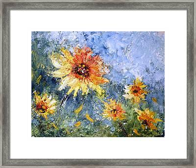 Sunflowers In Bloom Framed Print by Mary Spyridon Thompson
