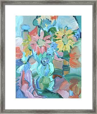 Sunflowers In Blue Vase Framed Print by Brenda Ruark