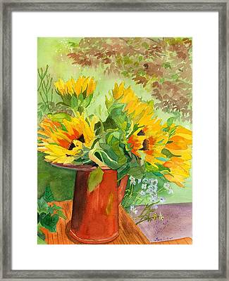 Sunflowers In Copper Framed Print by Lynne Reichhart