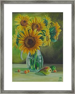 Sunflowers In Glass Jug Framed Print