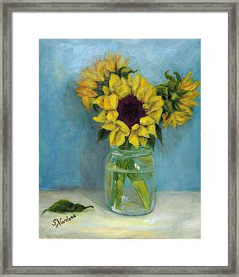Framed Print featuring the painting Sunflowers In Mason Jar by Sandra Nardone