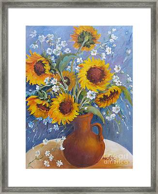 Framed Print featuring the painting Sunflowers In Pitcher by Marta Styk