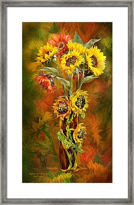 Sunflowers In Sunflower Vase Framed Print by Carol Cavalaris