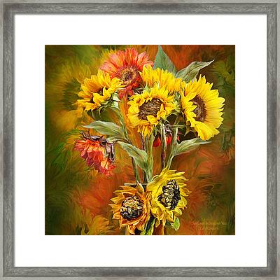 Sunflowers In Sunflower Vase - Square Framed Print
