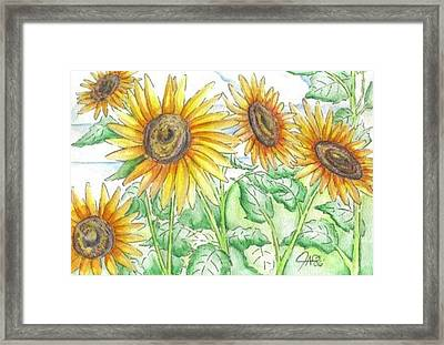 Framed Print featuring the painting Sunflowers In The George Garden by The GYPSY And DEBBIE